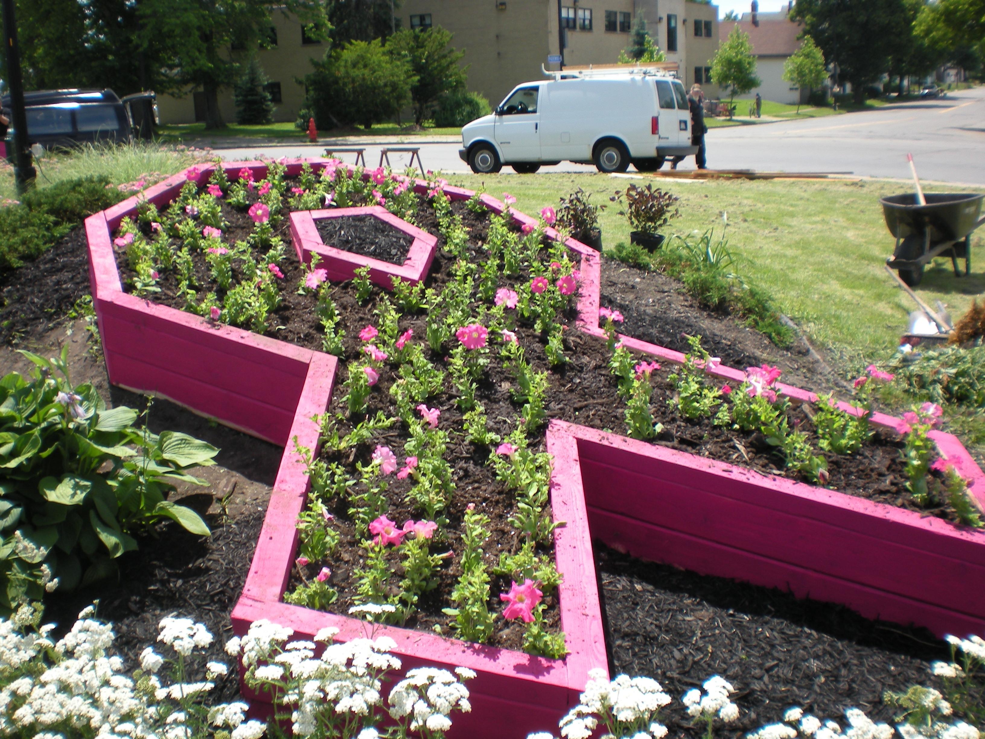 cancer ribbon garden at Buffalo train terminal