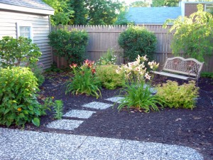 Grassless yards make eggertsville property a mow free zone for Landscape ideas no grass