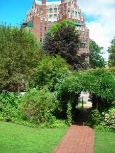 view from West Ferry garden looking toward street