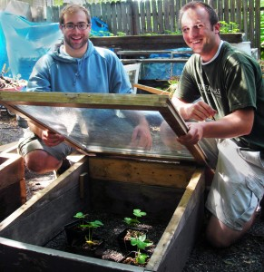 Brad and Scott from Buffalo ReUse with cold frame