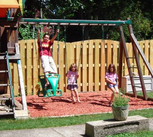 swing set in large Buffalo yard