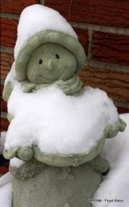 garden statue holding snow