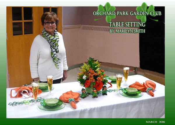 Marilyn Smith helped the Orchard Park Garden Club celebrate St. Patrick's Day at their March meeting. Her spirited table setting was not only beautiful but went over the top with a few glasses of Ireland's finest beorach (an Irish IPA). Table settings are a standard feature of Orchard Park Garden Club's monthly meetings. Photo courtesy Orchard Park Garden Club