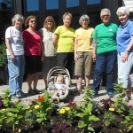 Orchard Park Garden Club maintaining garden bed June 2015
