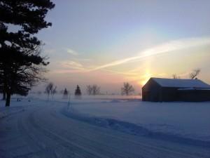 winter scene in Cheektowaga cemetery