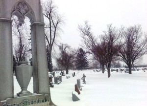 winter scene in cemetery