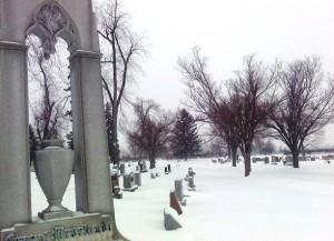 winter scene in cemetery