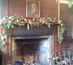 fireplace decorated by Youngstown NY Garden Club at Old Fort Niagara