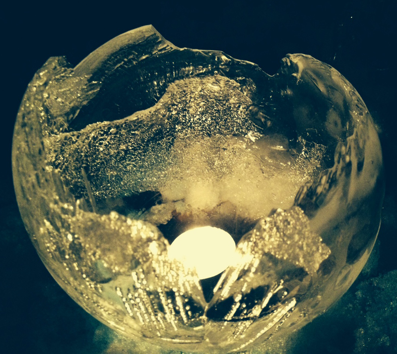 single frozen sphere with light in Youngstown NY