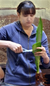 Lissette Ruotolo of Amherst, a participant in the workshop, cuts the leaf into sections.