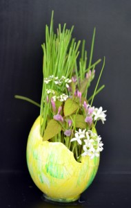 arrangement in egg shell from Holland NY Garden Club