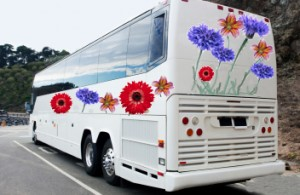 bus with flowers