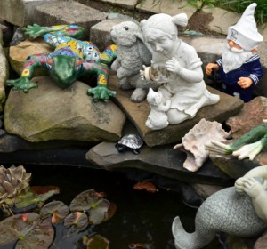 navy gnome in Lancaster NY garden