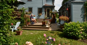 view of deck from yard Parkside Garden Tour in Buffalo NY