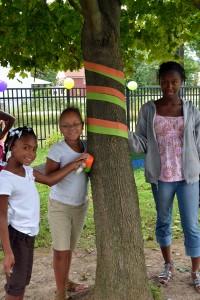 decorating maple tree in Buffalo teaching garden