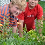 two boys in Hamburg NY school garden