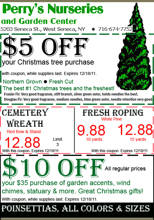 Holiday coupon from Perry's Nurseries in West Seneca