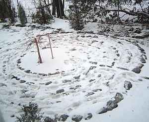 garden labyrinth in winter in Corfu NY