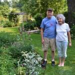 Brian and Linda Blyth in their garden in Tonawanda NY