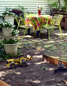 patio and sandbox in Hamburg NY yard