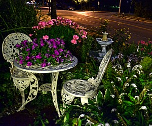 chairs in nighttime garden in Tonawanda NY