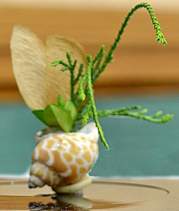 miniature floral design in shell from national garden club convention in Buffalo NY