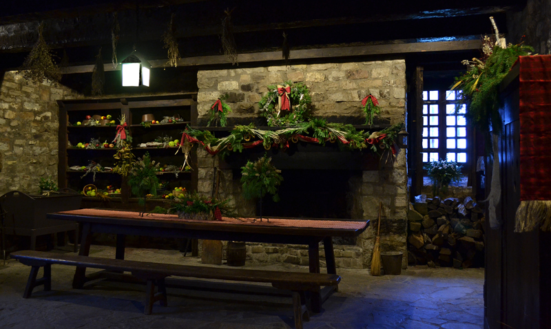 decorations by Youngstown Garden Club in kitchen at Fort Niagara