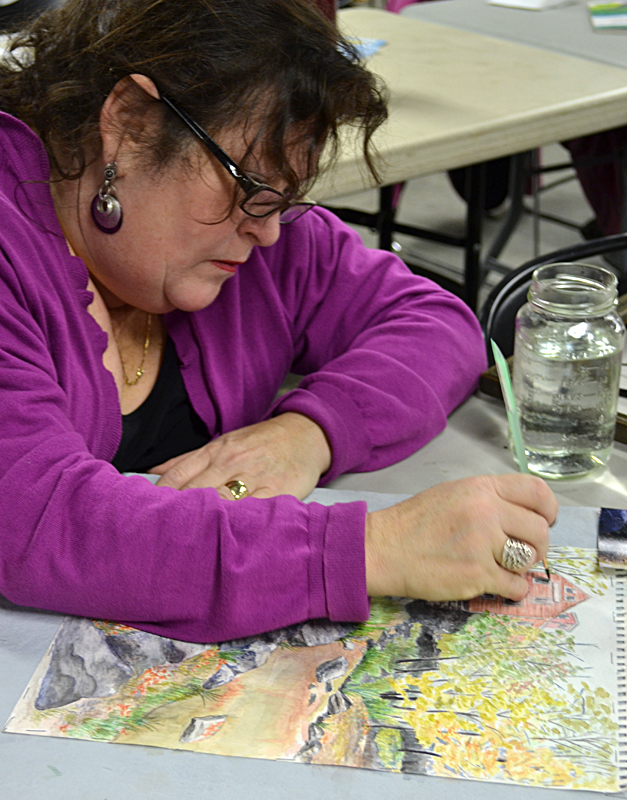 Michele Donovan of South Buffalo in art class at Buffalo Botanical Gardens