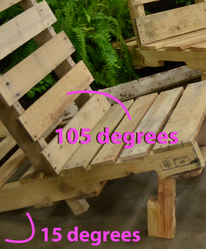 closeup of chair made of pallet in WNY