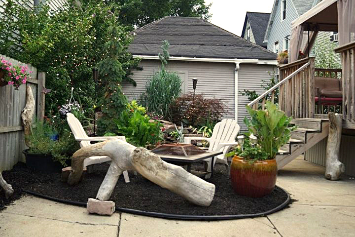 driftwood log forms informal seating in Buffalo NY