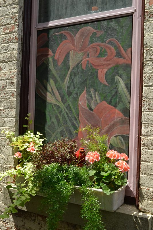 painted screen at home of artist in Buffalo NY