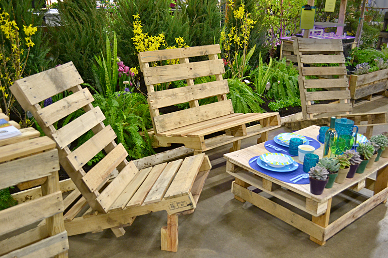 Garden Furniture Using Pallets use trash to make vertical garden, plant tags– even furniture