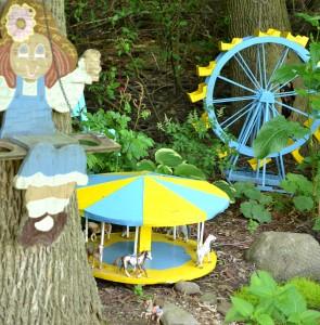 carousel scene in Lancaster NY garden