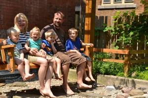 Cadzow Family in backyard in Buffalo NY