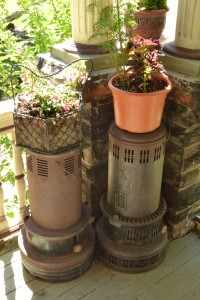 planters on top of old heaters in Niagara Falls NY