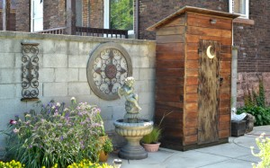 shed fashioned as an outhouse in Niagara Falls NY