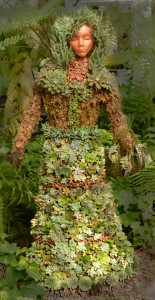 lady dressed in succulents in Buffalo Botanical Gardens