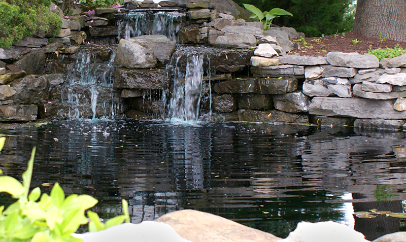 pond with waterfall from Arbordale in Getzville NY