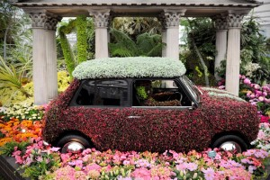 car covered with flowers at Chelsea Flower Show