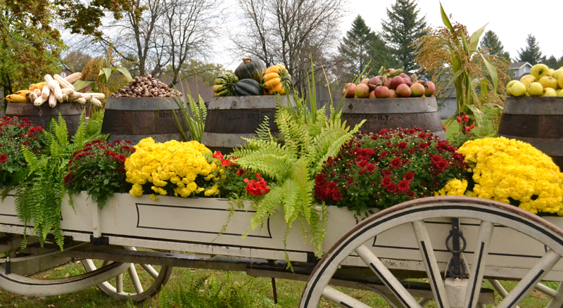 flower display on wagon at Genesee Country Village and Museum