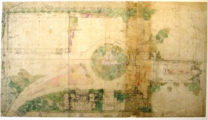 sketch of plan for Graycliff landscape by Frank Lloyd Wright