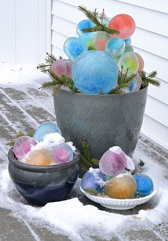colored ice balls in three containers in Amherst NY