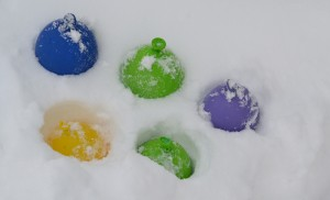 water balloons in snow in Amherst NY