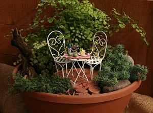cafe in miniature garden