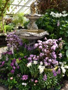 fountain at spring flower show Buffalo Botanical Gardens 2014