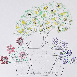 plants for sale in pots illustration copyright Connie Oswald Stofko