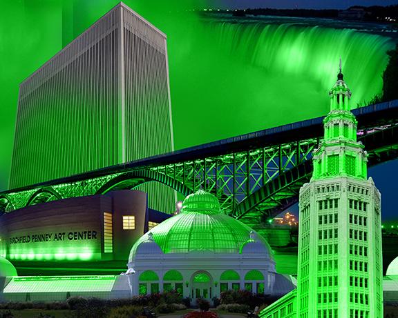 Buildings lit in green for Garden Walk Buffalo