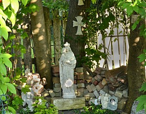 grotto in garden in Williamsville NY