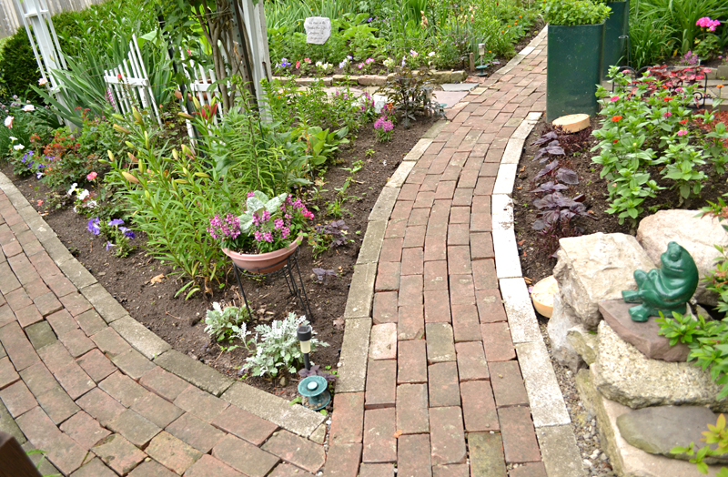 paths in Hamburg NY garden made from old chimney bricks
