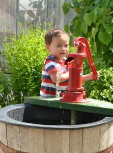 water pump in outdoor Children's Garden at Botanical Gardens in Buffalo NY